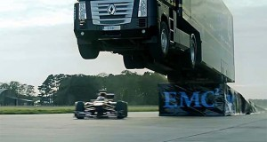 Want to See An 18-Wheeler Jump An F1 Car? Of Course You Do